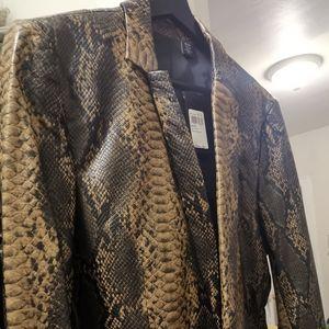 🆕GUESS Men's Faux Leather Snake-Print Blazer XS